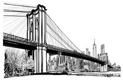 Puente de Brooklyn en Nueva York ilustración del vector