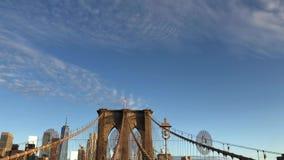 Puente de Brooklyn en Nueva York almacen de metraje de vídeo