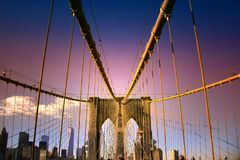 Puente de Brooklyn en NYC imagen de archivo libre de regalías