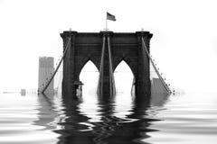 Puente de Brooklyn inundado Imagen de archivo