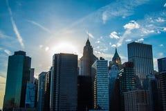 Puente de Brooklyn - opinión de Manhattan Fotografía de archivo