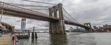 Puente de Brooklyn panorámico fotografía de archivo libre de regalías