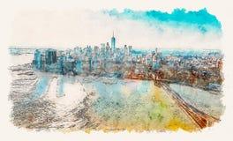 Puente de Brooklyn sobre el East River en Nueva York libre illustration