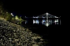 Puente de cable en UmeÃ¥, Suecia Fotografía de archivo