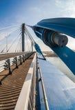 Puente de cable a través de Samara River Imagen de archivo libre de regalías