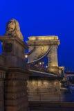 Puente de cadena de Széchenyi, Budapes, unión europea Imágenes de archivo libres de regalías