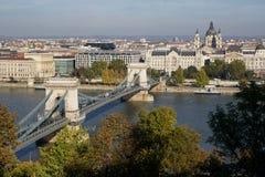 Puente de cadena de Széchenyi, Budapest Imagen de archivo libre de regalías