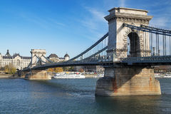 Puente de cadena de Szechenyi en Budapest Fotografía de archivo libre de regalías