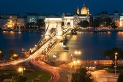 Puente de cadena de Szechenyi en Budapest Hungría Fotografía de archivo libre de regalías