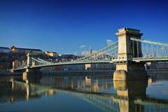 Puente de cadena, Szechenyi Lanchid Foto de archivo