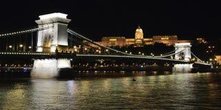 Puente de cadena y castillo de Buda en la noche Fotos de archivo