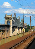 Puente de Cernavoda Danubio Fotografía de archivo