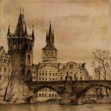 Puente de Charles en arte stock de ilustración