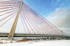 Puente de colgante en Gdansk Foto de archivo libre de regalías