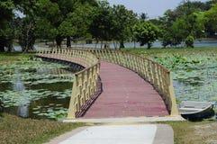 Puente de flotación en el lago Cyberjaya Foto de archivo