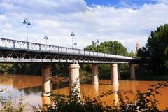 Puente de Hierro over Ebro river in Logrono. Spain stock photos