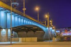 Puente de Kantemirovsky en la noche Fotografía de archivo libre de regalías