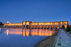 Puente de Khaju después de la oscuridad Foto de archivo libre de regalías