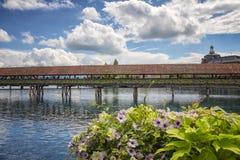 Puente de la capilla, Alfalfa, Suiza Fotografía de archivo