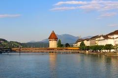 Puente de la capilla, Alfalfa, Suiza Imagenes de archivo