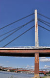 Puente de la ciudad con el taxi fotos de archivo libres de regalías