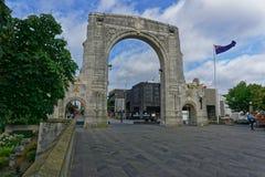 Puente de la conmemoración, Christchurch, Nueva Zelanda fotos de archivo