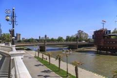 Puente de la libertad en Skopje Fotografía de archivo libre de regalías
