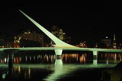 Puente de la Mujer. Spanish for Woman's Bridge. A rotating pedestrian bridge in the Puerto Madera area of Buenos Aires, Argentina. Designed by Santiago Calatrava stock photography