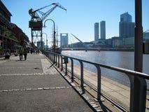 Puente de la Mujer Puerto Madero Buenos Aires Argentina. Puente de la Mujer Modern buildings Río de la Plata Crane Fragata Sarmiento Puerto Madero Buenos Aires Royalty Free Stock Images
