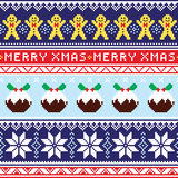 Puente de la Navidad o modelo inconsútil del suéter con el hombre de pan de jengibre y el pudín de la Navidad Foto de archivo libre de regalías
