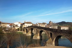 Puente de la Reina's bridge leads the way to Estella village at the beginning of the 5th stage of the Camino de Santiago Royalty Free Stock Photography
