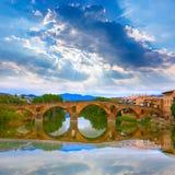Puente de la Reina in Saint James Way bridge. Over Arga River in Pamplona stock images
