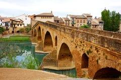 Puente de la Reina in Saint James Way bridge. Over Arga River in Pamplona stock photo