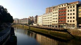 Puente de la Ribera en Bilbao, España Imagen de archivo libre de regalías