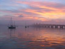 Puente de leones en el amanecer Fotografía de archivo