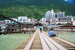 Puente de Luding en Sichuan imagen de archivo libre de regalías