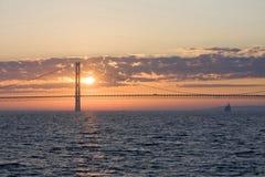 Puente de Mackinac Puesta del sol Fotos de archivo