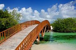 Puente de madera arqueado fotos de archivo libres de regalías