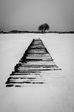 Puente de madera cubierto en nieve Imagen de archivo libre de regalías