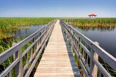 Puente de madera de la calzada Fotografía de archivo libre de regalías