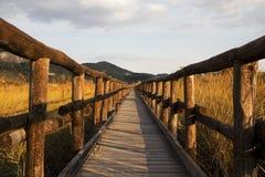 Puente de madera en el campo Imagen de archivo