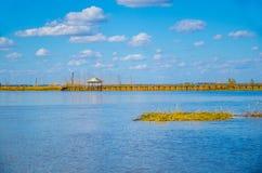 Puente de madera en el lago Fotos de archivo libres de regalías