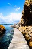Puente de madera en el mar Fotos de archivo libres de regalías