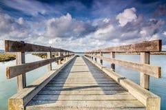 Puente de madera en los pantanos Fotografía de archivo libre de regalías