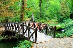 Puente de madera hermoso a través del río en el otoño Sofia Park Foto de archivo libre de regalías
