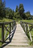 puente de madera que cruza en un parque extenso rodeado por naturaleza Concepto de la comida campestre Foto de archivo libre de regalías