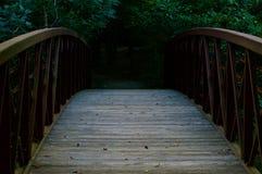 Puente de madera que lleva en la madera Fotografía de archivo