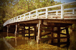 Puente de madera rústico sobre el río en bosque Imágenes de archivo libres de regalías