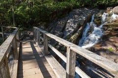 Puente de madera sobre el río corriente en una pista de senderismo foto de archivo