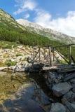 Puente de madera sobre el río, montaña de Pirin Imagen de archivo